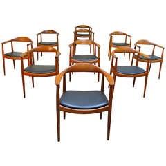 Set of Ten Early Wegner Round Chairs