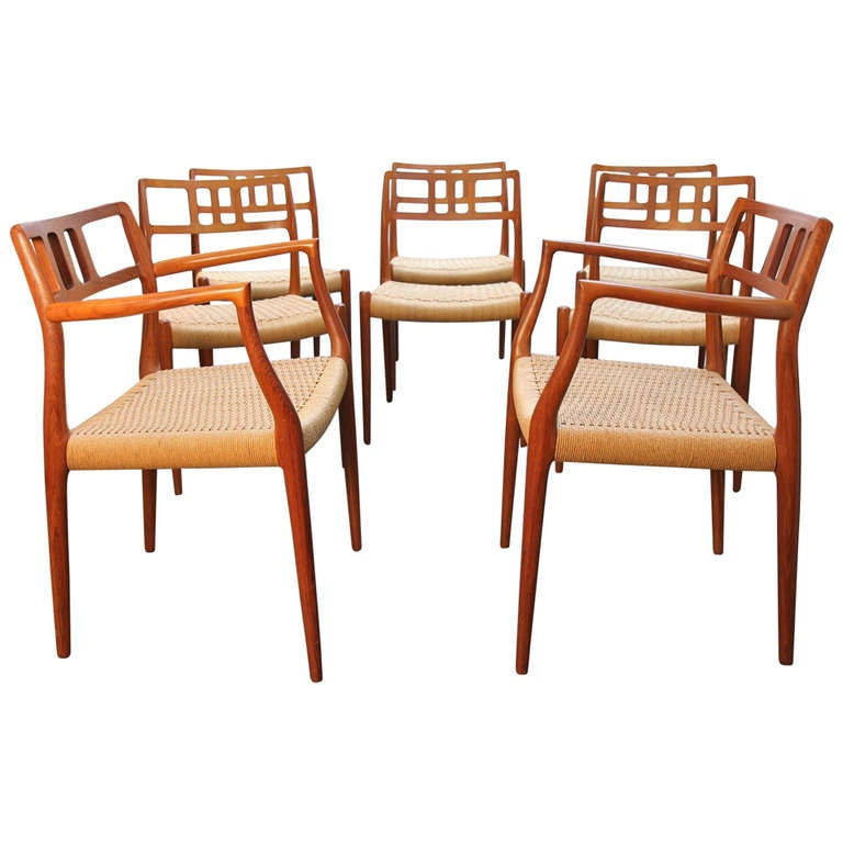 Set Of Eight Niels O Moller For J L Moller Chairs Model 79 And 64 At 1stdibs