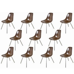 Charles and Ray Eames for Herman Miller Brown Shell Chairs