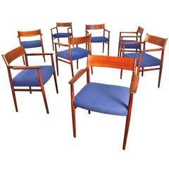 Eight Arne Vodder Rosewood Dining Chairs