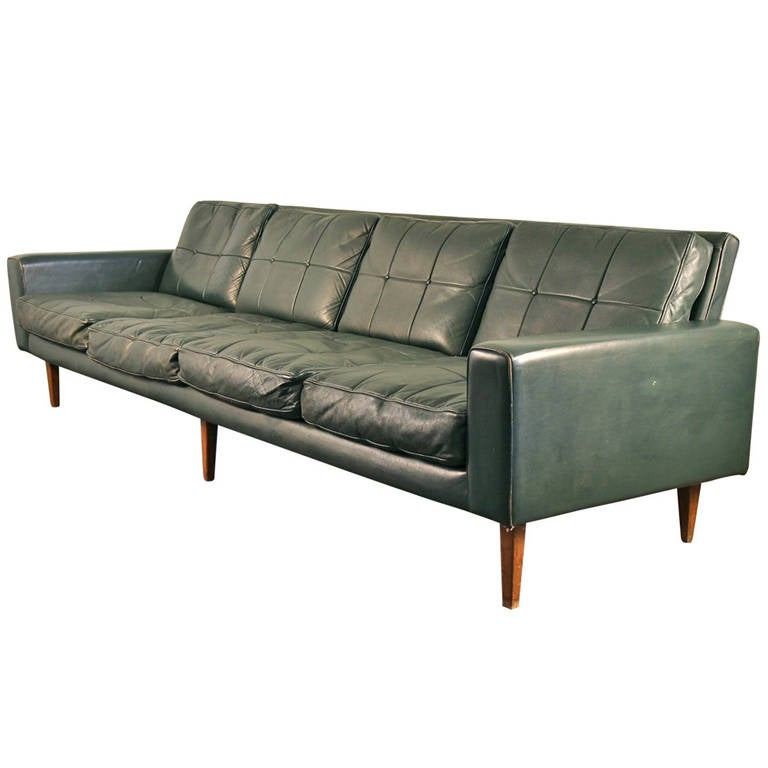 long 1960s danish modern leather sofa at 1stdibs