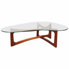 Adrian Pearsall Walnut and Glass Coffee Table