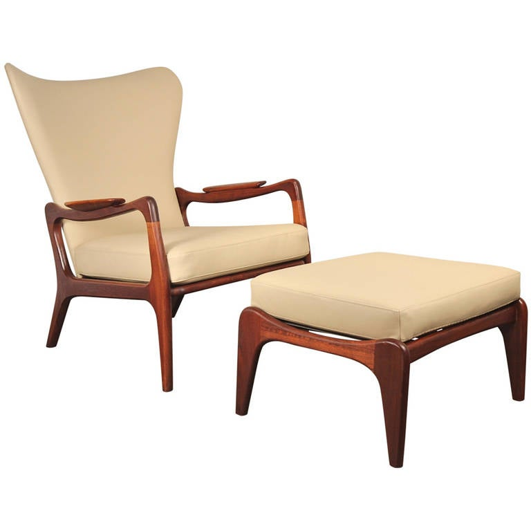 Adrian Pearsall Wingback Lounge Chair And Footstool For
