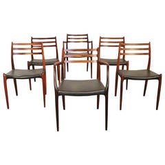 Set of Six Rosewood Niels O. Møller Chairs Model 79 and 64
