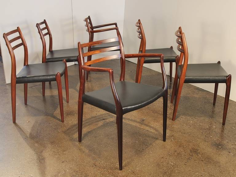 Set of Six Rosewood Niels O Mller Chairs Model 79 and 64 at 1stdibs