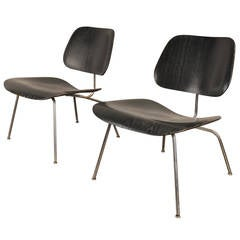 Pair of 1950s Black Lcm by Charles and Ray Eames for Herman Miller