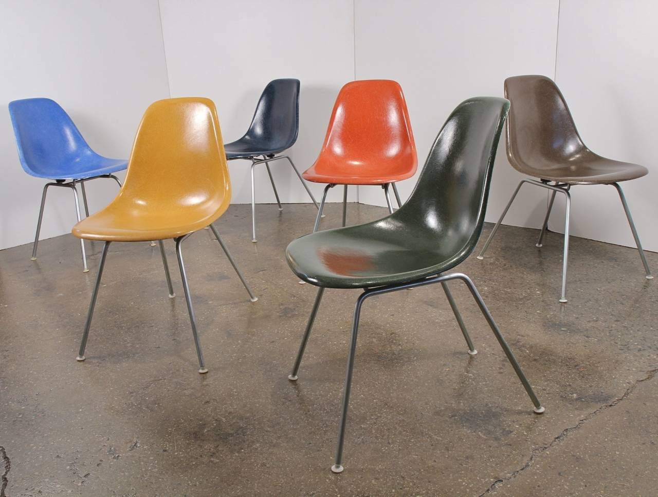 Mid-Century Modern Original Eames Fiberglass Shell Chairs by Herman Miller For Sale