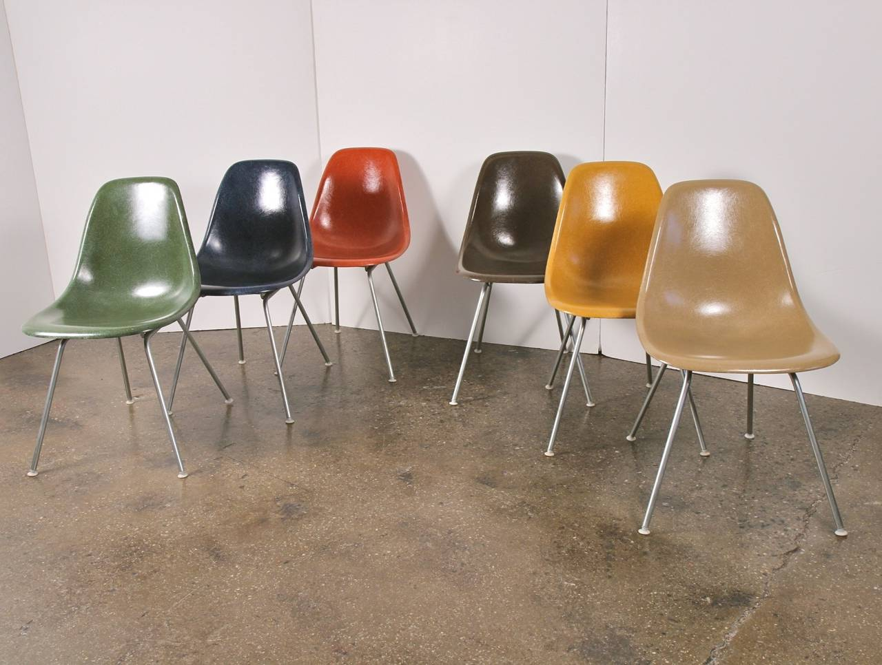 American Original Eames Fiberglass Shell Chairs by Herman Miller For Sale