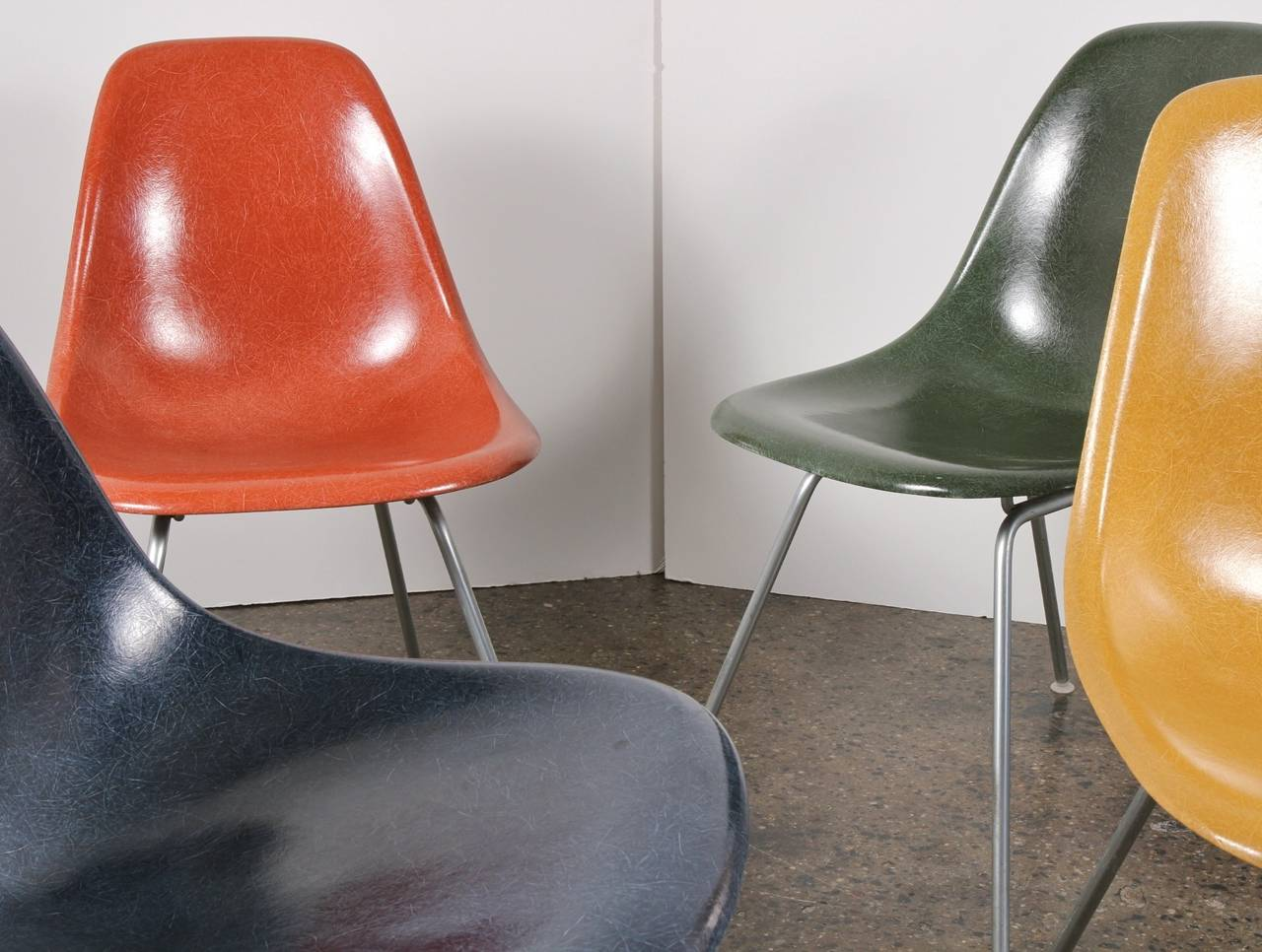 Molded Original Eames Fiberglass Shell Chairs by Herman Miller For Sale