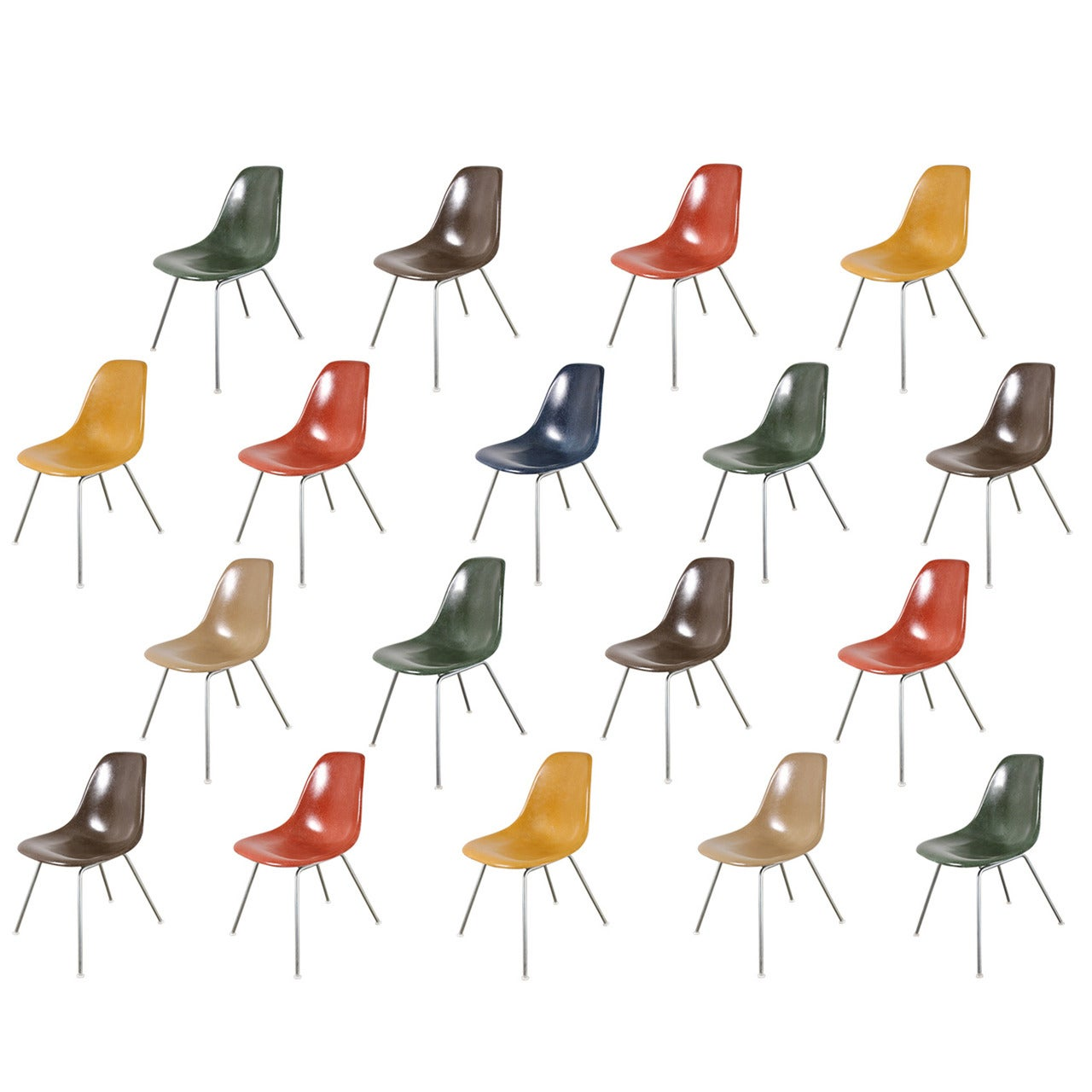 Original Eames Fiberglass Shell Chairs by Herman Miller