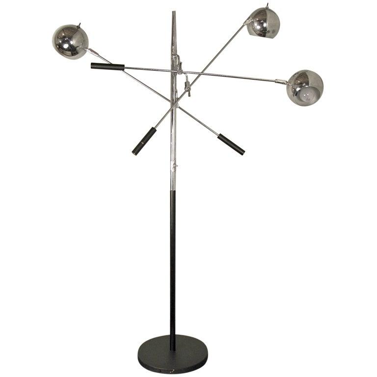 lightolier triple arm floor lamp at 1stdibs. Black Bedroom Furniture Sets. Home Design Ideas