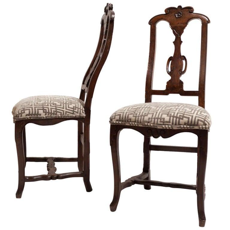 18th Century Pair of Spanish Walnut Chairs