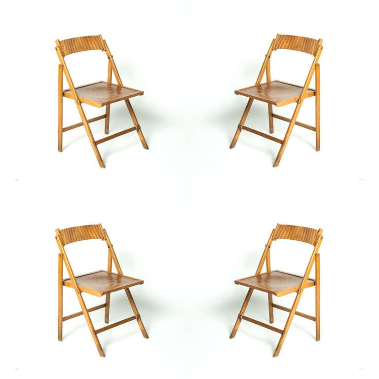 20th c Set Four Folding Chairs For Sale at 1stdibs