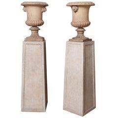 19th c. Pair of English terracotta Medici Vases