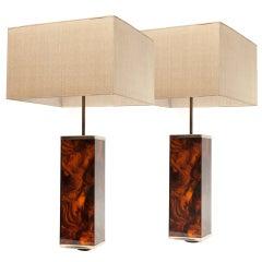 70´s Pair of False Carey Table lamps