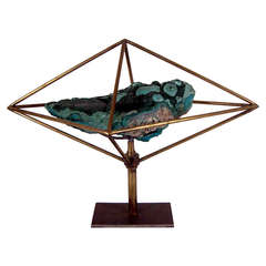 Malachite and Brass Sculpture