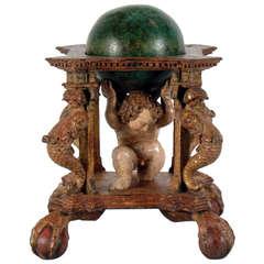 18th Century Italian Carved and Polychromed Wood Celestial Globe
