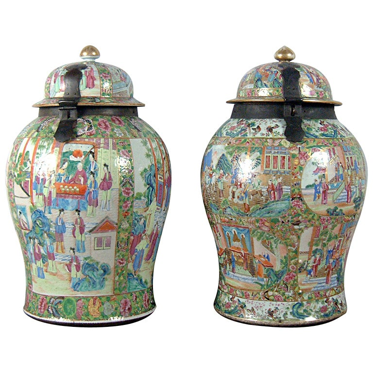 A Pair Of Canton Large Covered Jars