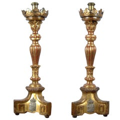 A Pair Of Large Giltwood Candlesticks