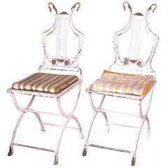 Pair of 20th Century French Painted Iron Chairs