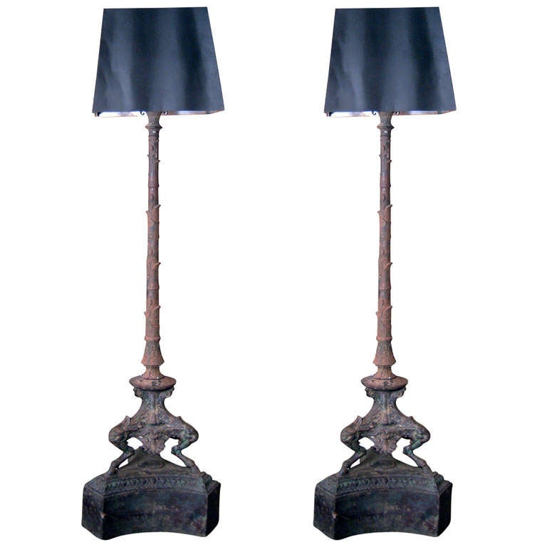 Pair of 19th Century French Cast Iron Floor Lamps