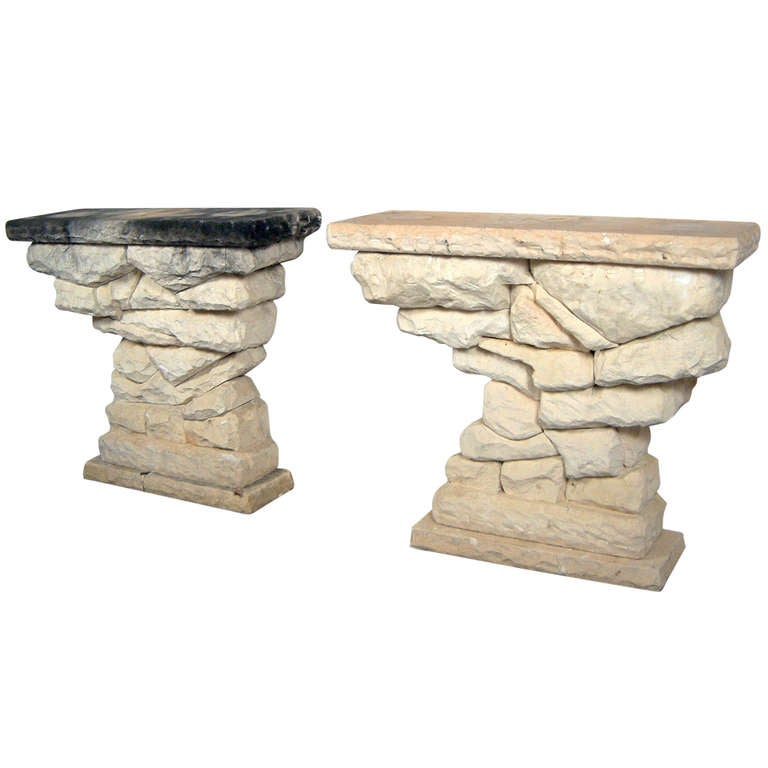 Pair Of Stone Console Tables 1