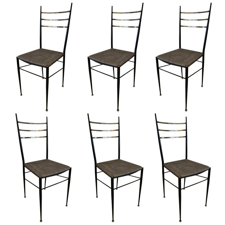 Set Of 6 Dining Chairs In Iron And Brass By Carlo Di Carli Italy 1960s At 1stdibs