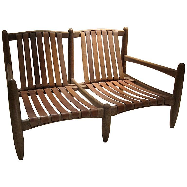 An oak and leather danish canape 1960 39 original good - Canape original colore ...