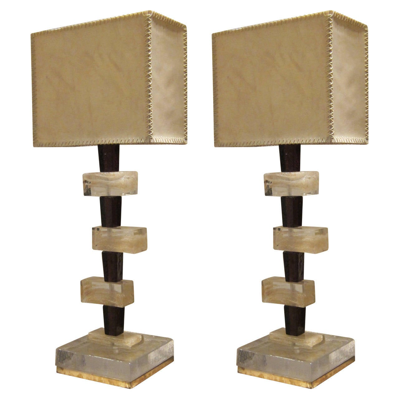 pair of murano glass and parchment shades table lamps
