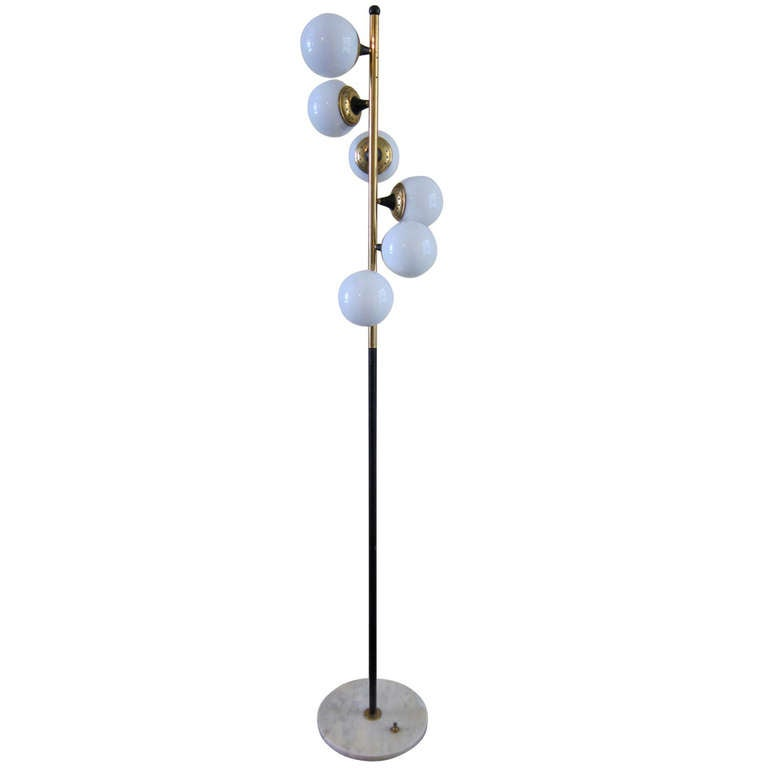 stilnovo floor lamp with carrara marble base and gilded brass italy. Black Bedroom Furniture Sets. Home Design Ideas