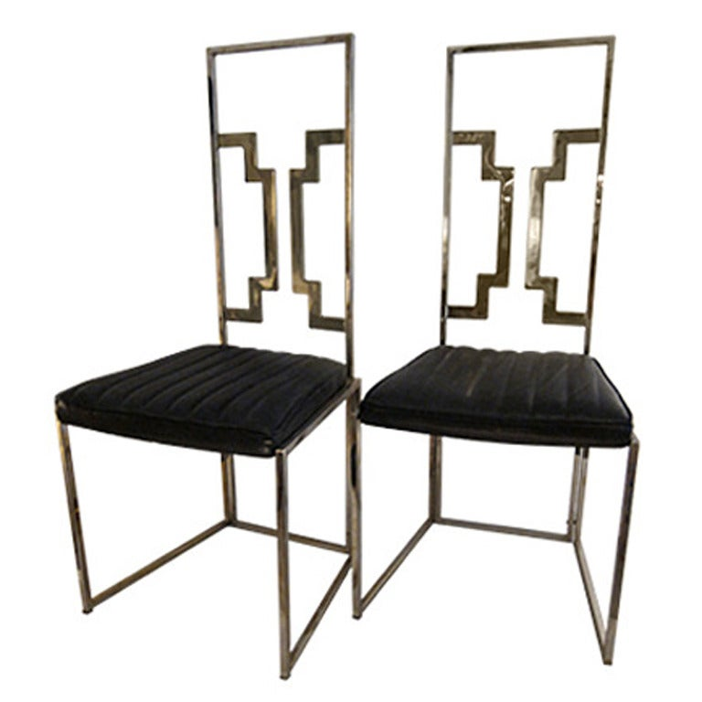 pair of brass italian very good quality dining chairs at 1stdibs