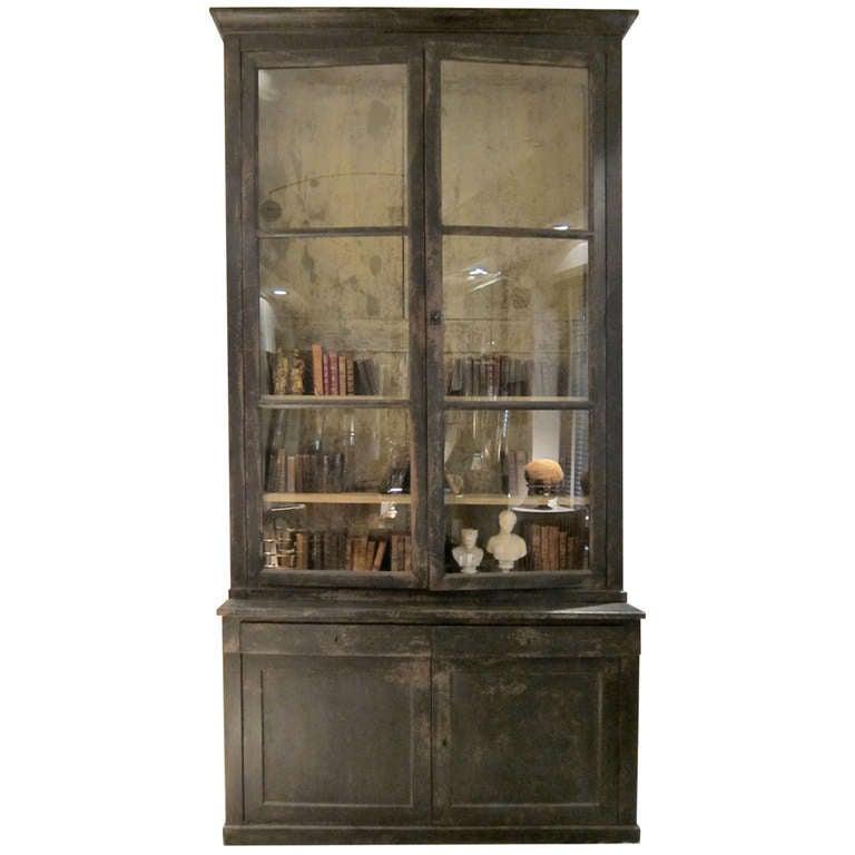 A Black Lacquered Walnut Bookcase Provenza Francia Xixth