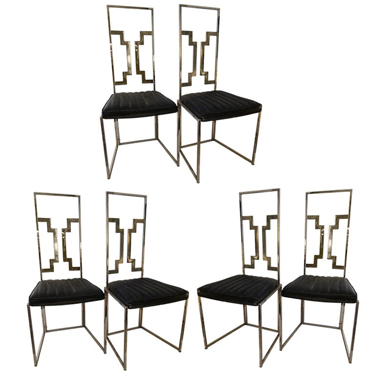 Set of six brass italian very good quality dining chairs for Good quality dining tables