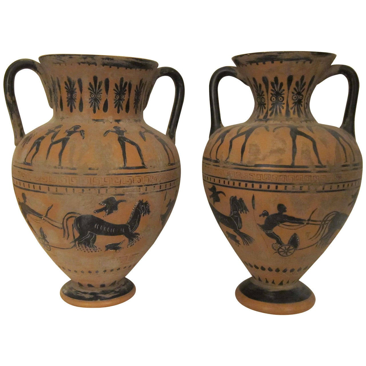 Pair Of Etruscan Terracotta Vases Italy XIXth Century At