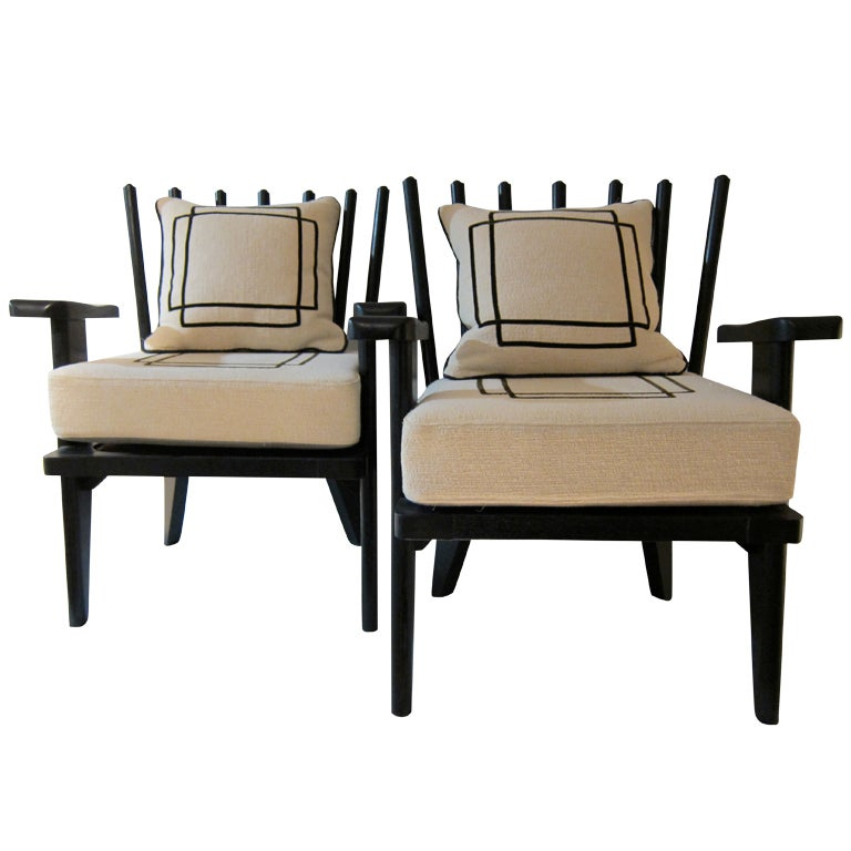 Pair Of Black Lacquered French Armchairs 1960 At 1stdibs
