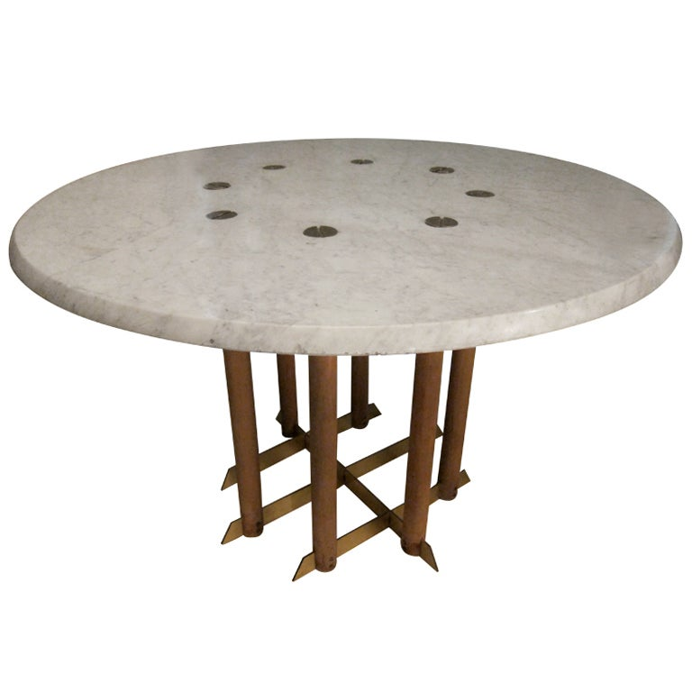 Calacatta white marble very unusual round table by max for Unusual round tables