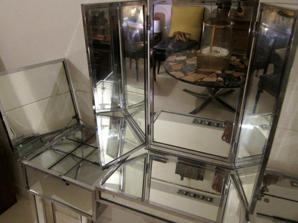 Chromed steel and mirrors french coiffeuse style of for Coiffeuse 3 miroirs