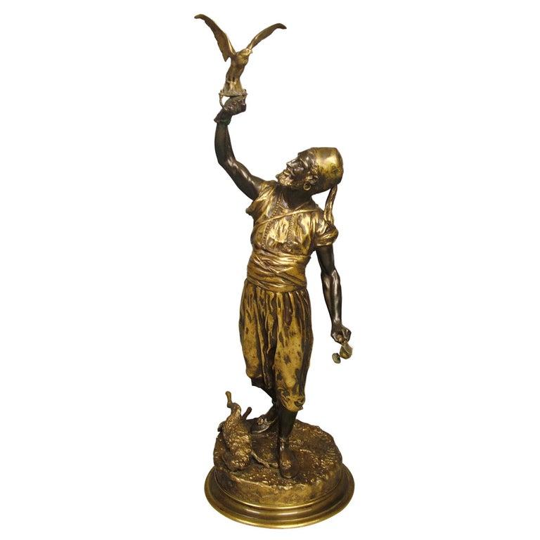 "Bronze Sculpture ""The Arab Falconer"" by Pierre Jules Mene For Sale"