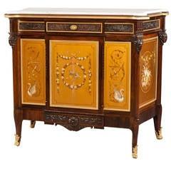 19th Century English Gold Polychrome Paneled Side Cabinet