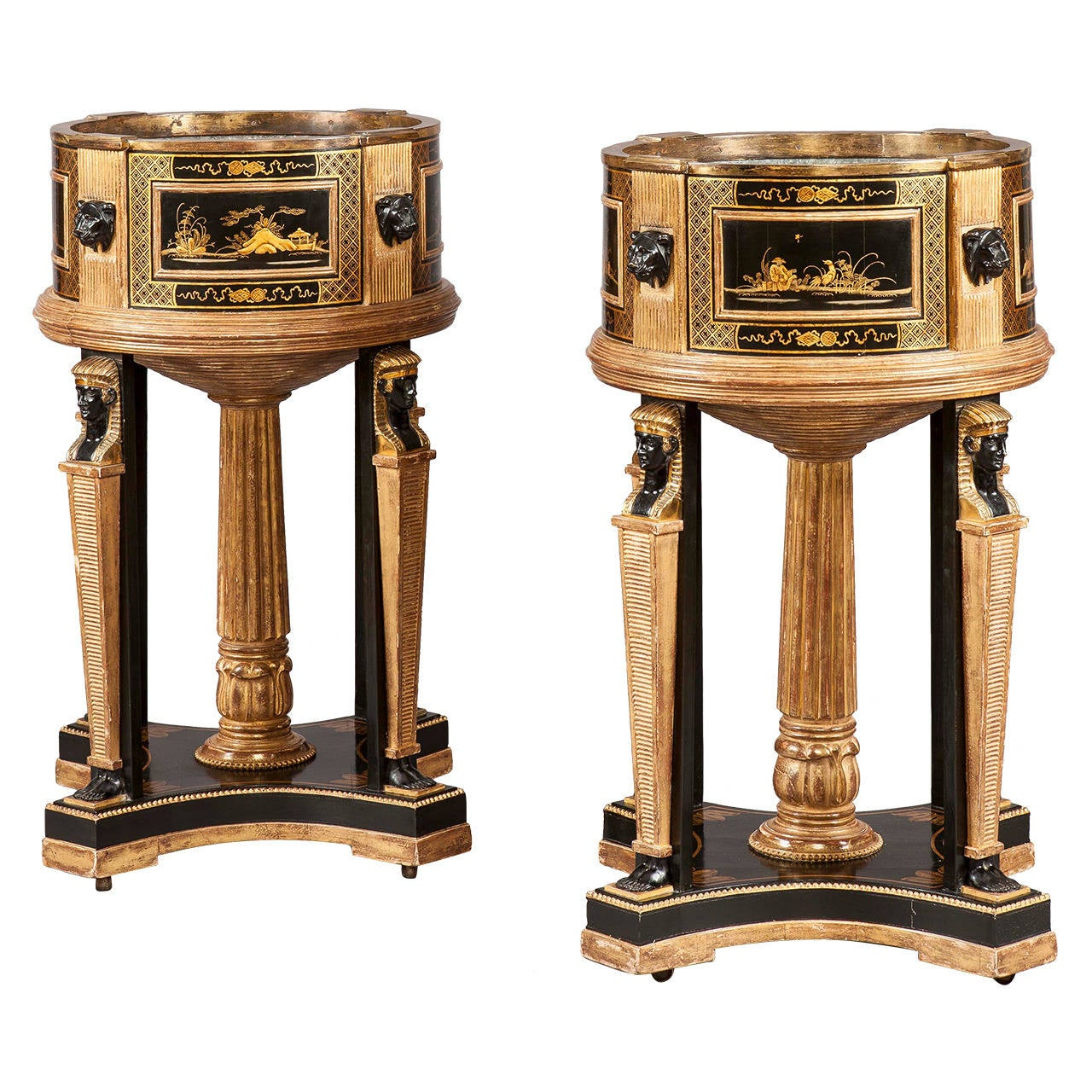 Pair of Black and Gilt Chinoiserie and Egyptian Motif Jardinières