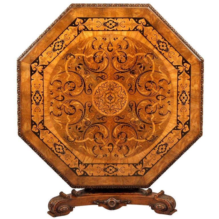 Antique Walnut Marquetry Octagonal Centre Table For Sale