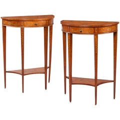 Pair of English Satinwood Console Tables in the Neoclassical Style
