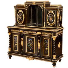French Ebonized and Hardstone Cabinet in the Italian Renaissance Style