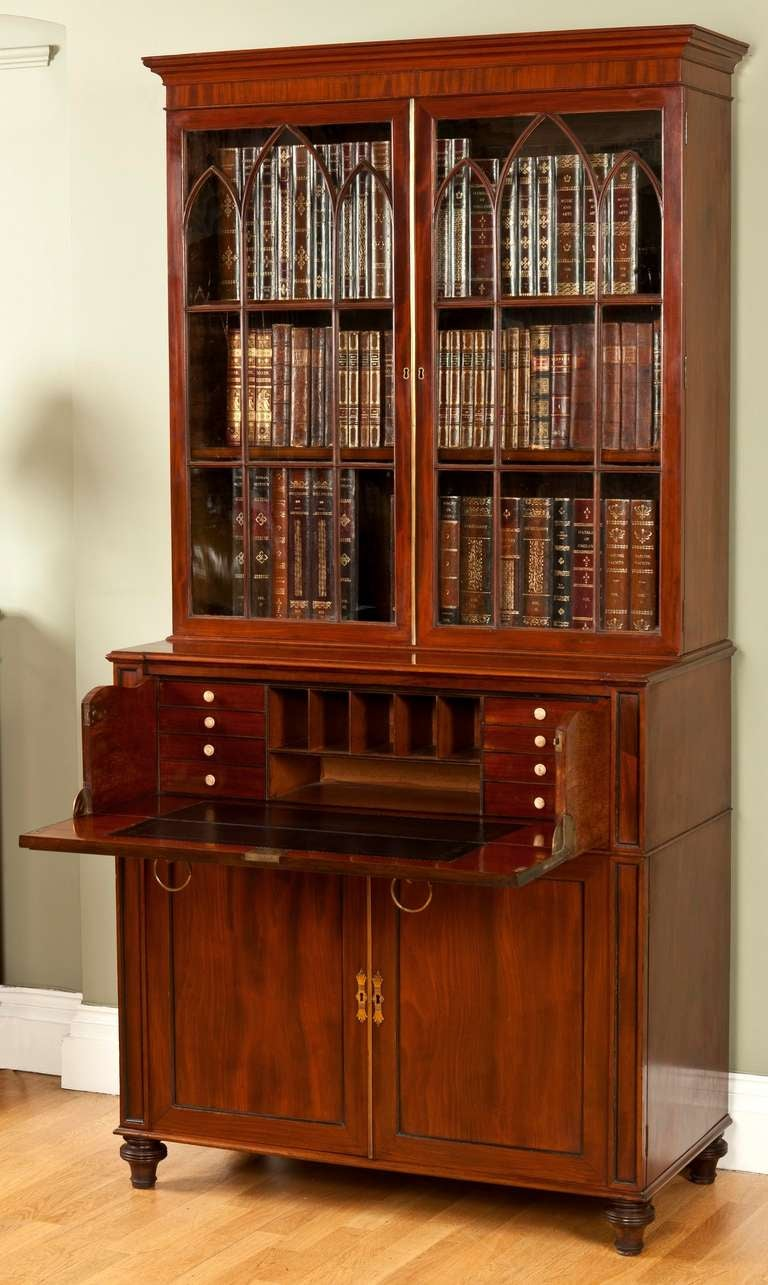 English Regency Period Mahogany Secretaire Bookcase For Sale