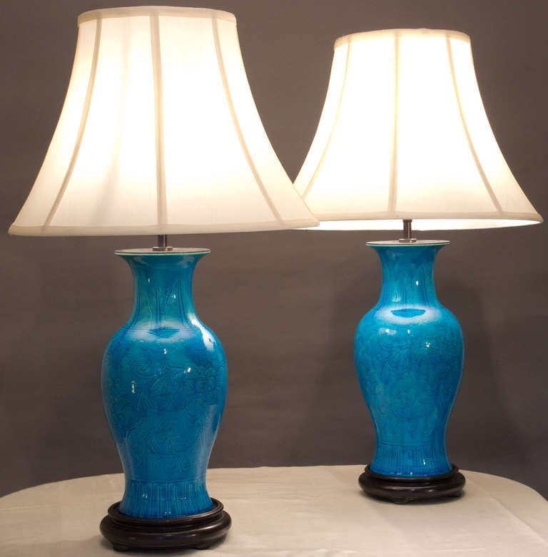 Pair Of Chinese Turquoise Porcelain Table Lamps At 1stdibs