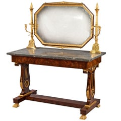 19th Century French Empire Mahogany, Gilt and Marble Topped Dressing Table