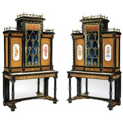 Pair of English Display Cabinets in the Renaissance Revival Style