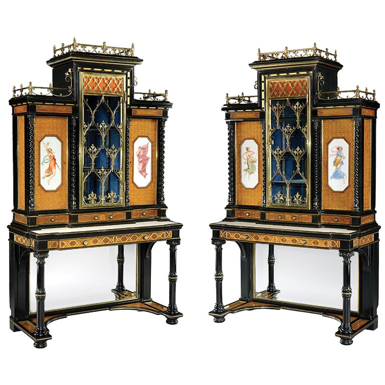 Pair of English Display Cabinets in the Renaissance Revival Style 1