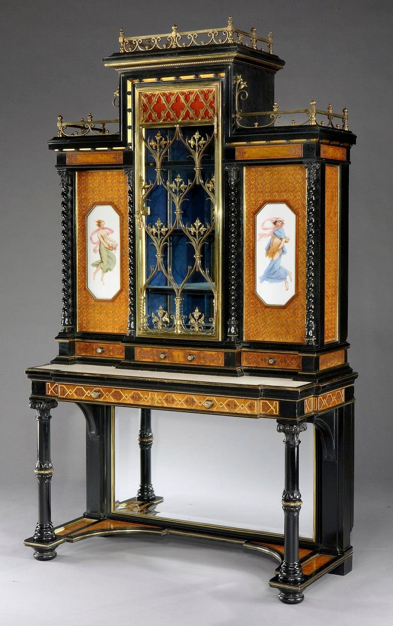Pair Of English Display Cabinets In The Renaissance Revival Style For Sale At 1stdibs