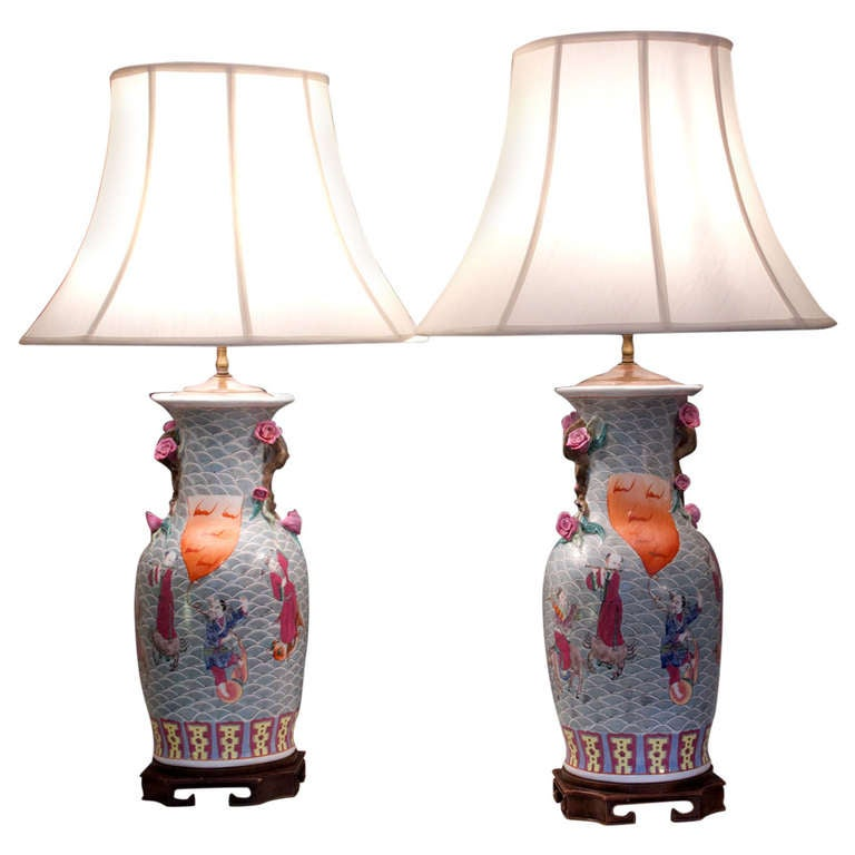 Pair Of Chinese Lamps Hand Decorated With Court Scenes